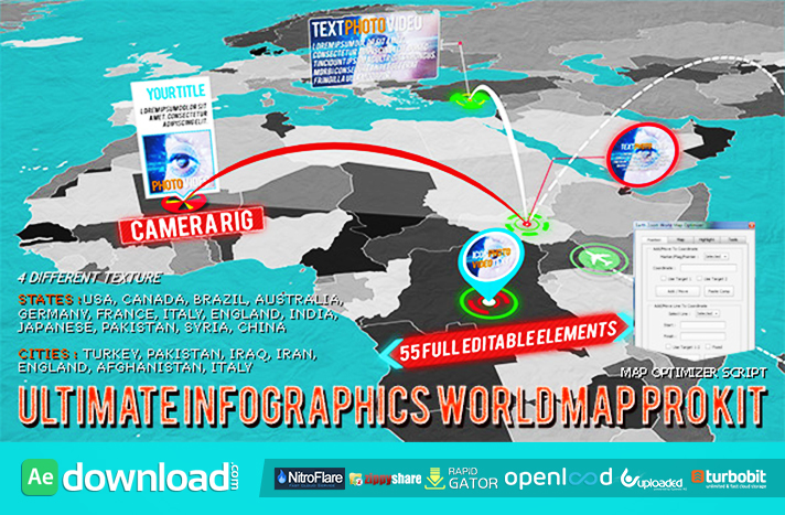VIDEOHIVE 3D WORLD MAP PRO KIT AFTER EFFECTS TEMPLATE FREE