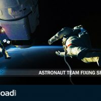 VIDEOHIVE ASTRONAUT TEAM FIXING SPACE STATION