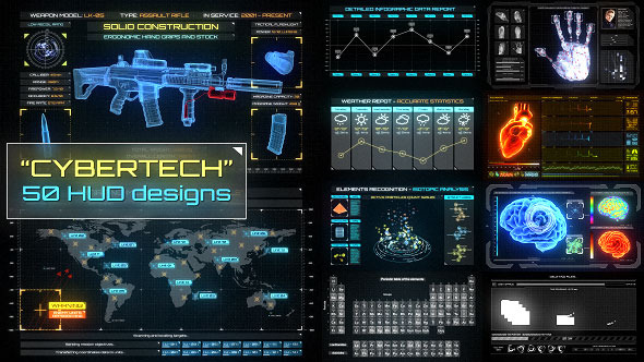 CyberTech HUD Infographic Pack 10581330