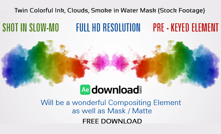 Twin Colorful Ink Clouds Smoke in Water Mask (Stock Footage)