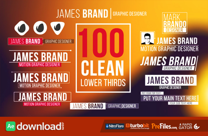 100 CLEAN LOWER THIRDS Free Download After Effects Templates