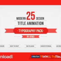 VIDEOHIVE 25 DESIGN TITLES ANIMATION – TYPOGRAPHY PACK