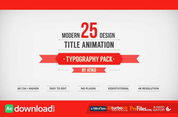 free after effects title templates - videohive 25 design titles animation typography pack