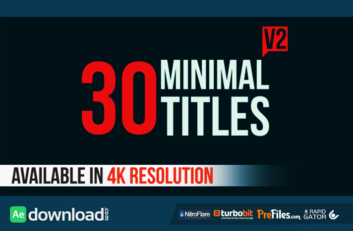 30 Minimal Titles V2 Free Download After Effects Templates