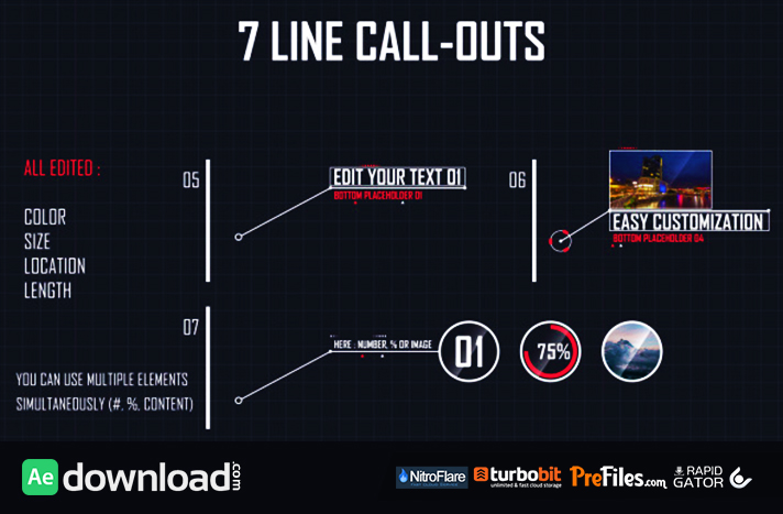 7 Line Call-Outs Free Download After Effects Templates
