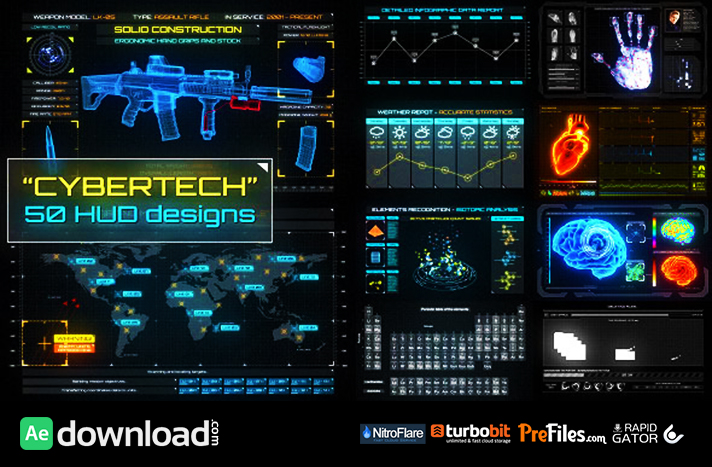 CYBERTECH HUD INFOGRAPHIC PACK (VIDEOHIVE PROJECT) - FREE