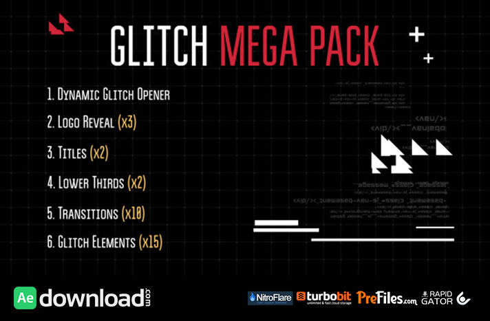 Glitch Mega Pack Free Download After Effects Templates
