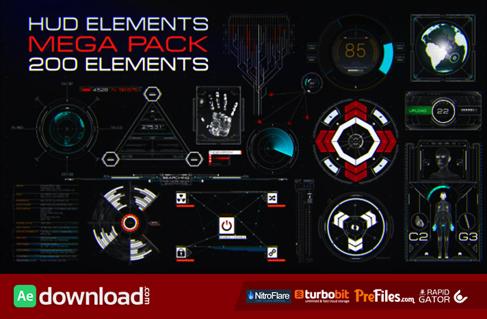 HUD Elements Mega Pack Free Download After Effects Templates