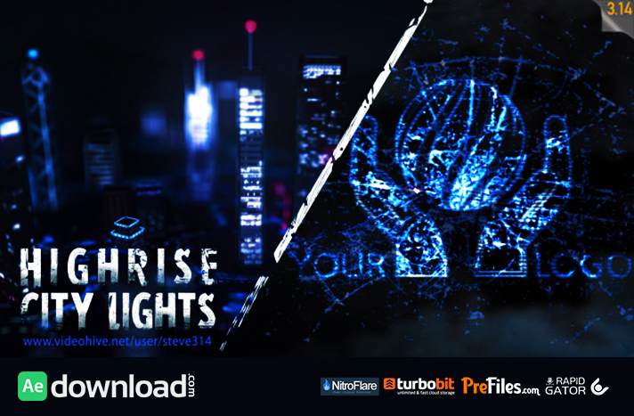 Highrise City Lights - Logo Intro Free Download After Effects Templates