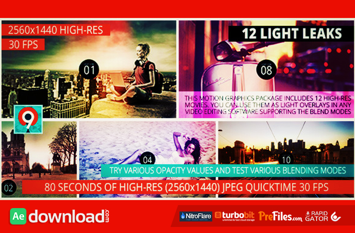 Light Leaks Pack II Free Download After Effects Templates