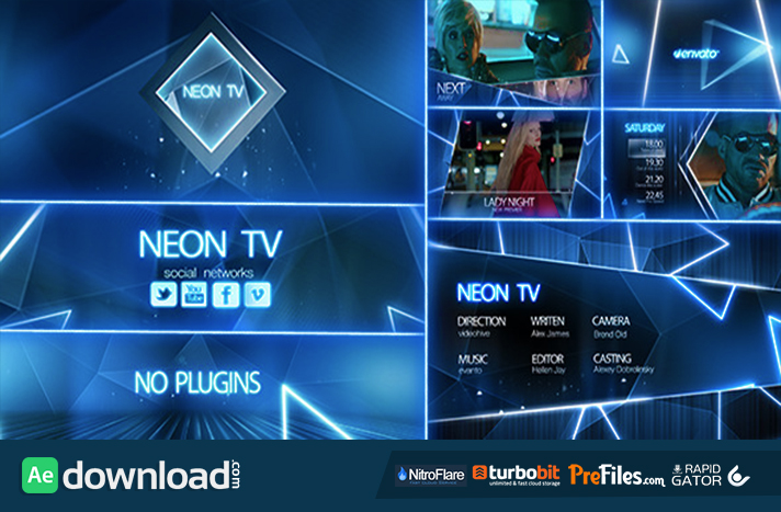 Neon TV Broadcast Package Free Download After Effects Templates