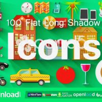 100 FLAT LONG SHADOW ICONS FREE DOWNLOAD POND5 TEMPLATE