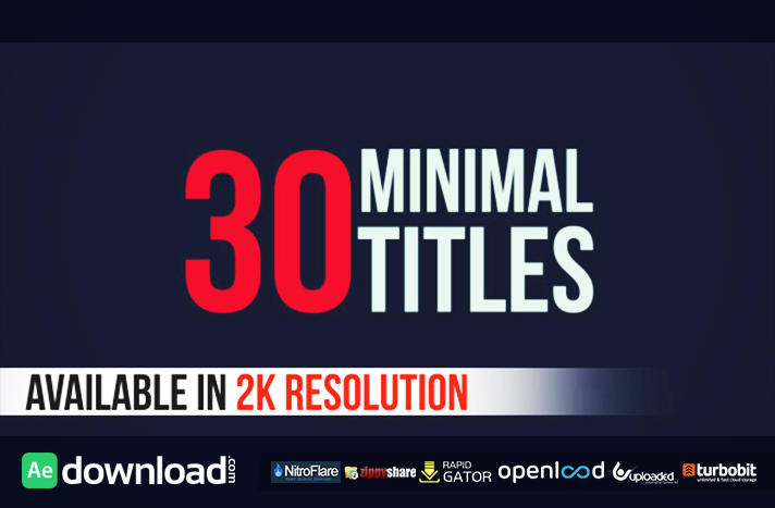 30 Minimal Titles free download (videohive template)