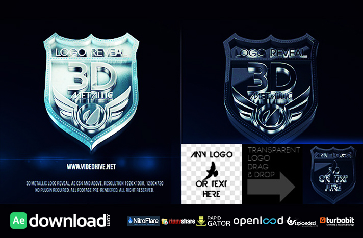 3D Metallic Logo free download (videohive template)