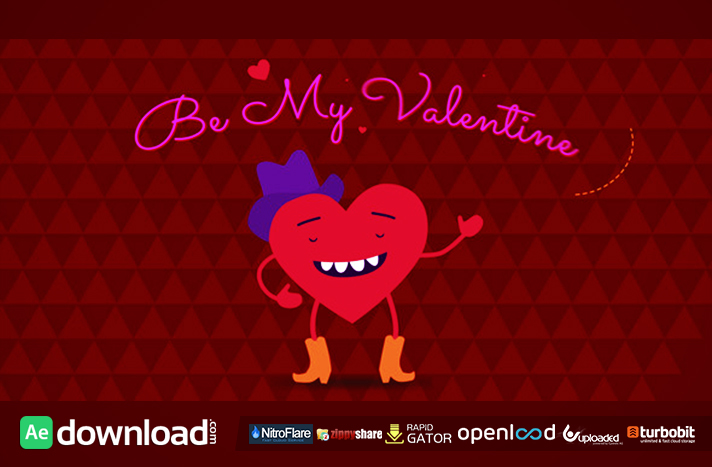 Be My Valentine Cartoon Greeting (videohive template)