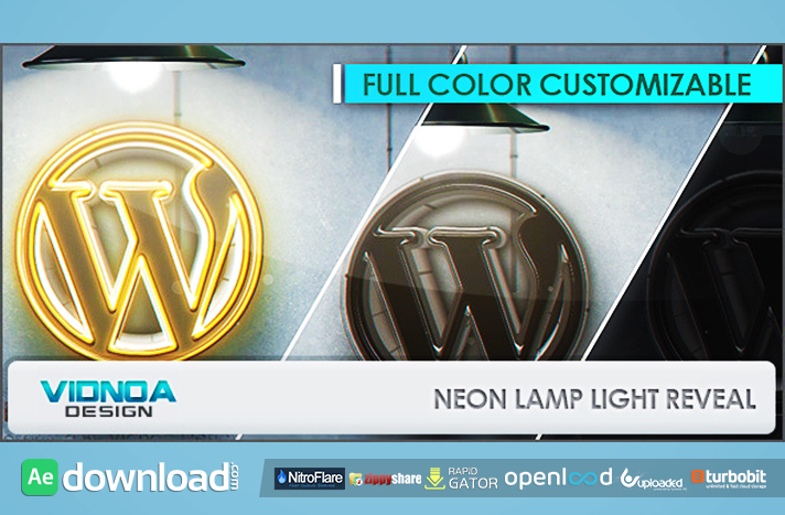 Neon Lamp Light Reveal free download (videohive template)