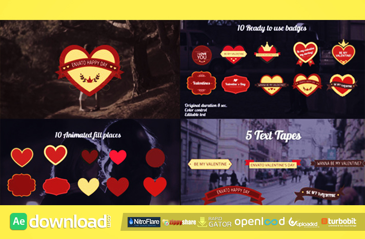 Romantic Badges free after effects templates