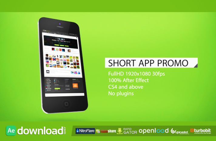download template after effect cs4 - short app promo free download after effects project
