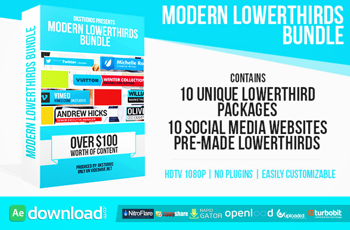 Modern Lower Thirds Bundle (10 in 1)
