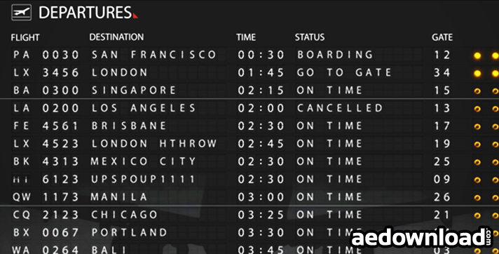 Airport Departure Board 121766 After Effects Project