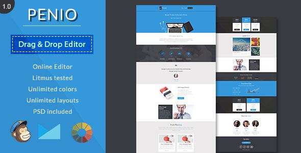 free responsive email templates - penio v1 0 responsive email template with editor free
