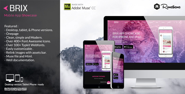 Brix Mobile Landing Page Muse Template Free