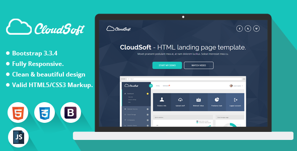 cloud soft html landing page template free download free after