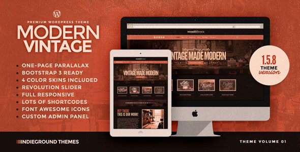 modern vintage v158 one page wordpress theme free download