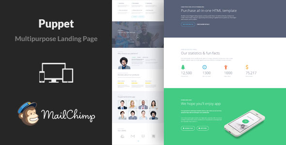 Puppet V Multipurpose Landing Page Template Free Download - Mailchimp templates free download