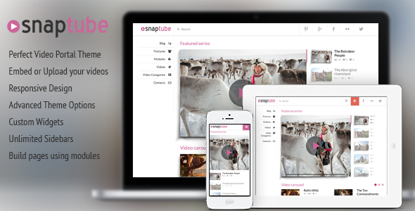 Snaptube v3.1 – Premium Video WordPress Theme Free Download - Free ...
