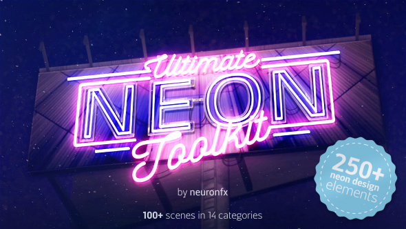 videohive ultimate neon toolkit neon sign mockup kit after