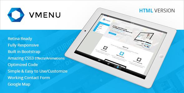 Vertical Menu – Responsive HTML Template Free Download