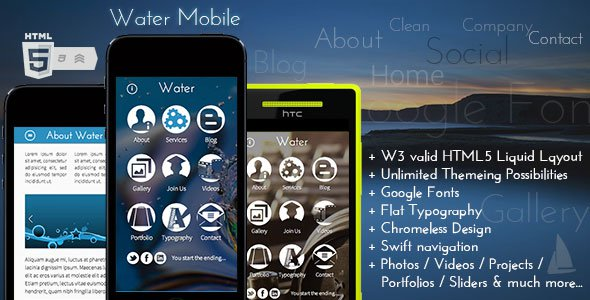 Water Mobile – Premium HTML Theme Free Download - Free After Effects on voltic water, mississippi water, san francisco water, puddle of water, rome water,