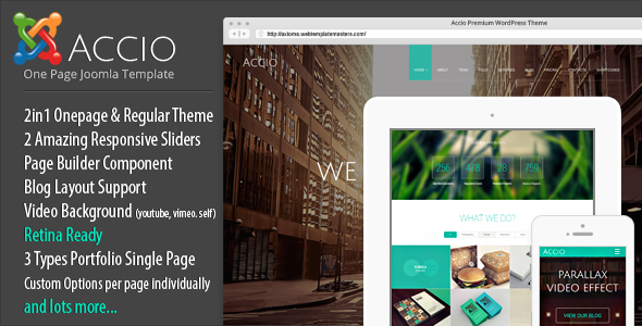 Accio One Page Parallax Responsive Joomla Template 3.x Free Download ...