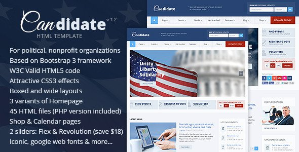 Candidate V PoliticalNonprofit HTML Theme Free Download Free - Political website templates