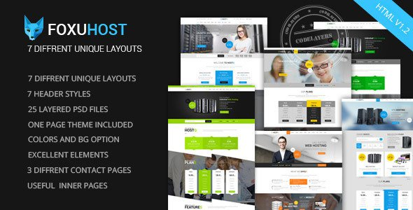 Foxuhost Web Hosting Responsive HTML Template Free Download - One page website template html5 responsive free download