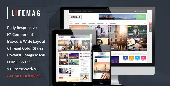 LifeMag v100 Responsive Magazine Joomla Template 3x Free