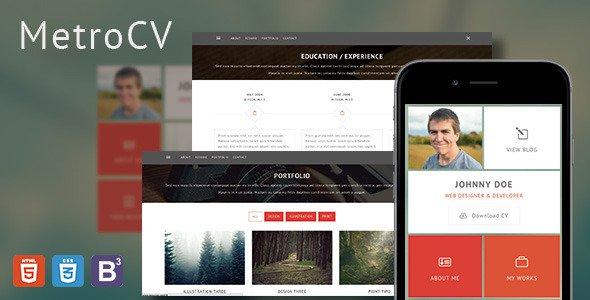 MetroCV v1 0 – OnePage Resume Portfolio WordPress Theme Free