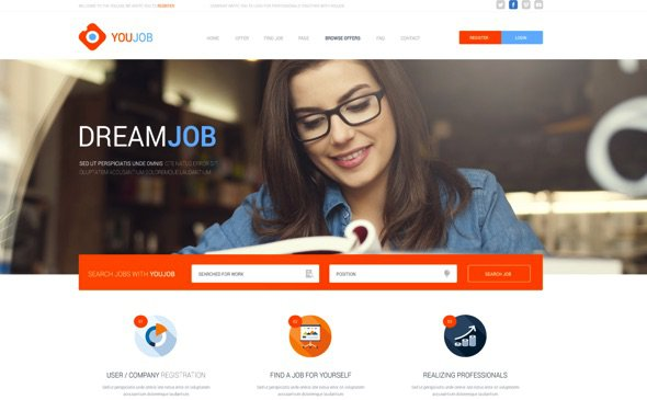 jobs template html free  YouJob – Job Portal (HTML PSD) – CreativeMarket 281973 Free Download ...