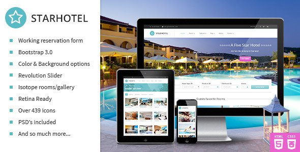Starhotel V1 0 Responsive Hotel Booking Template Free