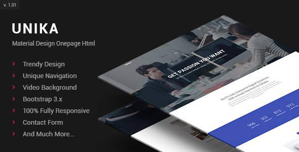 Unika – Responsive Material Design Onepage HTML Template Free ...