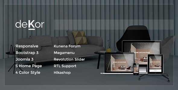 Dekor responsive interior joomla template 3 x free for Addison interior design decoration wordpress theme nulled