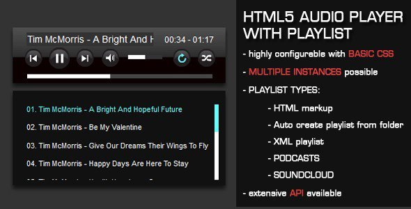 Html5 audio player with playlist free download for Html5 video player template