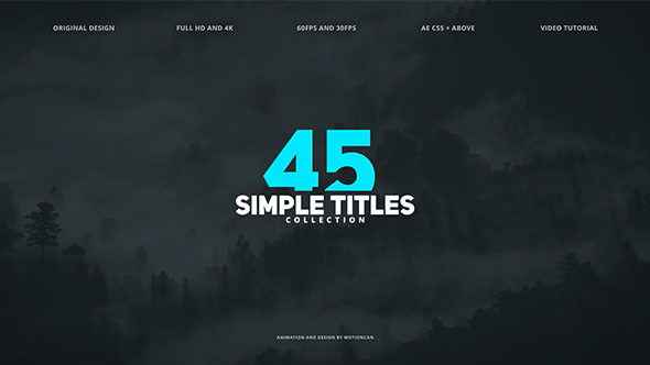 VIDEOHIVE 45 SIMPLE TITLES FREE AFTER EFFECTS TEMPLATE - Free After ...