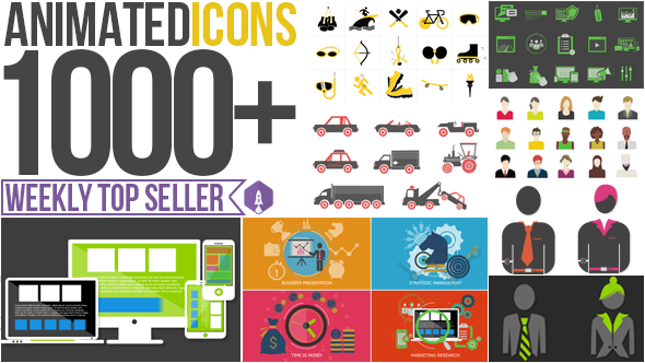 ANIMATED ICONS 1000+ - AFTER EFFECTS PROJECT (VIDEOHIVE