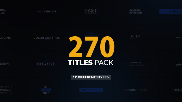Videohive 270 titles pack free after effects template for Free after effects titles