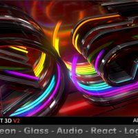 VIDEOHIVE NEON GLASS AUDIO REACT LOGO