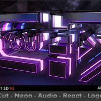 VIDEOHIVE CUT NEON AUDIO REACT LOGO