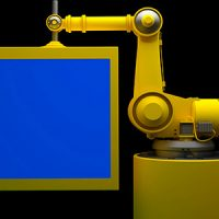 ROBOT AND MONITOR WITH BLUE SCREEN – STOCK FOOTAGE (VIDEOHIVE)