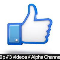 VIDEOHIVE FACEBOOK 3D THUMBS UP LIKE ICON – MOTION GRAPHIC